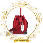 Red Leather Handbag For Women, Handmade (#1001)