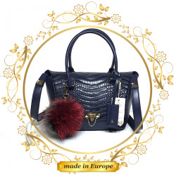 Blue Leather Handbag For Women, Handmade (#1003)