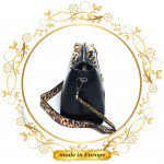 Black Leather Handbag For Women, Handmade (#1004)