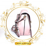 Pink Leather Backpack For Women, Handmade (#1009)
